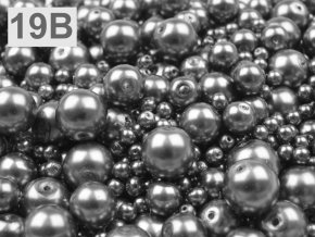 Voskované korálky mix velikostí 4-12mm , 50g, šedá-hematit