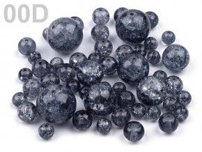 Korálky praskané mix velikostí 6-18mm, 50g, tmavě šedá