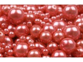 Voskované korálky mix velikostí 4-12mm, 50g, červeno-růžová
