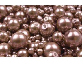 Voskované korálky mix velikostí 4-12mm, 50g, světlá čokoládová