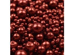 Voskované korálky mix velikostí 4-12mm, 50g, bordó
