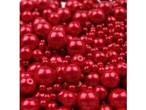 Voskované korálky mix velikostí 4-12mm, 50g, červená