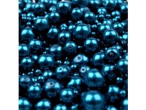 Voskované korálky mix velikostí 4-12mm, 50g, modrá pařížská