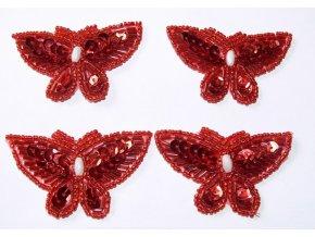 Aplikace motýl flitry/perličky 19964 - červený