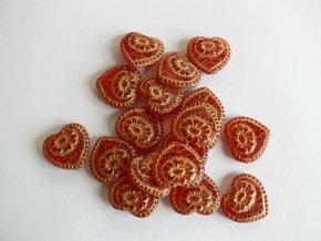 Mačkané korálky tvarové, srdce 18x17 mm, červená se zlatou