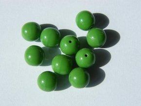 Korálky mačkané kulaté 8mm, 53330 - sytá zelená