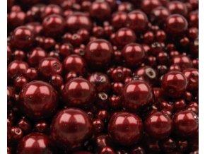 Voskované korálky mix velikostí 4-12mm, 50g, granátová