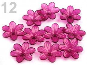 Květ plast 26mm TRANSPARENT 200431- 12  fialová švestka