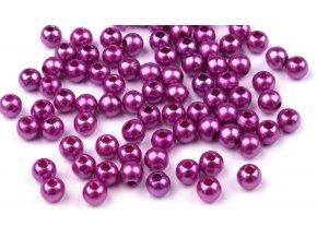 Korálky GLANCE plast kulička 4mm voskované, 5g, fialová gerbera