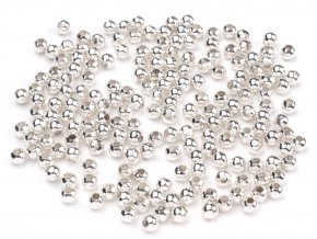 Korálky kovové 3mm, 5g, stříbrná sv.