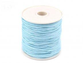 Šňůra bavlněná voskovaná 310030 1mm, návin 20-30m, světle modrá