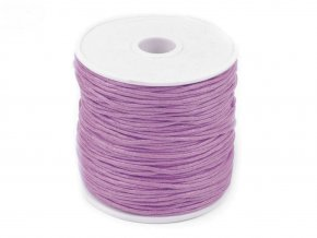 Šňůra bavlněná voskovaná 310030 1mm, návin 20-30m, fialová