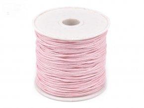 Šňůra bavlněná voskovaná 310030 1mm, návin 20-30m, růžová