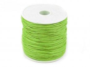 Šňůra bavlněná voskovaná 310030 1mm, návin 20-30m, světle zelená