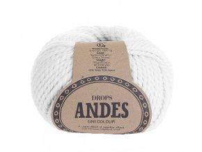 Příze Drops Andes uni colour 1101 - bílá