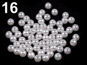 Korálky GLANCE plast kulička 4mm voskované, 5g, bílá