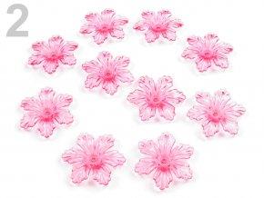Květ plast  27 mm TRANSPARENT 200579 - růžová 2