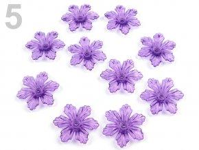 Květ plast  27 mm TRANSPARENT 200579 - fialková 5