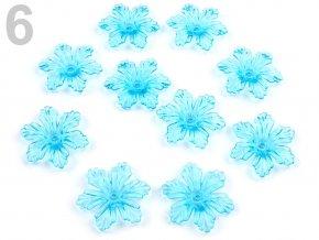 Květ plast  27 mm TRANSPARENT 200579 - modrá azurová 6