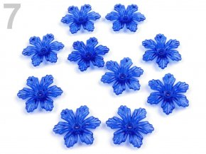 Květ plast  27 mm TRANSPARENT 200579 - modrá královská 7