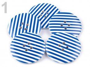Knoflík dřevěný, 1 modrý proužek, velikost 60, 110972
