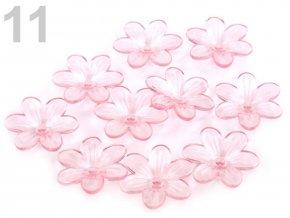 Květ plast 26mm TRANSPARENT 200431- 11 světlá růžová