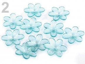 Květ plast 26mm TRANSPARENT 200431-2 modrá azurová
