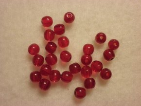 Korálky mačkané kulaté 4mm červené