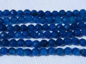 Achát modrý tmavý, kulička fazetovaná 4mm