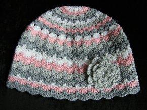 Čepička šedo-růžová, velikost 48 - 50 cm, 5351
