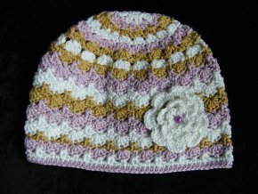 Čepička béžovo-fialková, velikost 40 - 43 cm, 5354