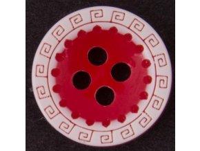 knoflík červeno bílý
