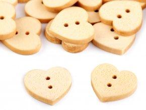 """Dřevěný knoflík srdce velikost 32"""" 120395"""