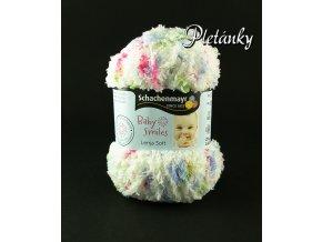 Příze Baby Smiles Lenja Soft 00083 - bílá,  modrá, sytá růžová, hráškově zelená