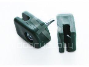 Příchytka na napínací drát - PVC zelená, šroubovací + šroub