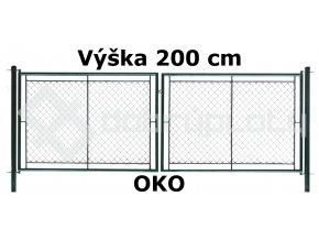 Brána zahradní dvoukřídlá 200 cm x 360 cm OKO zelená VÝPRODEJ