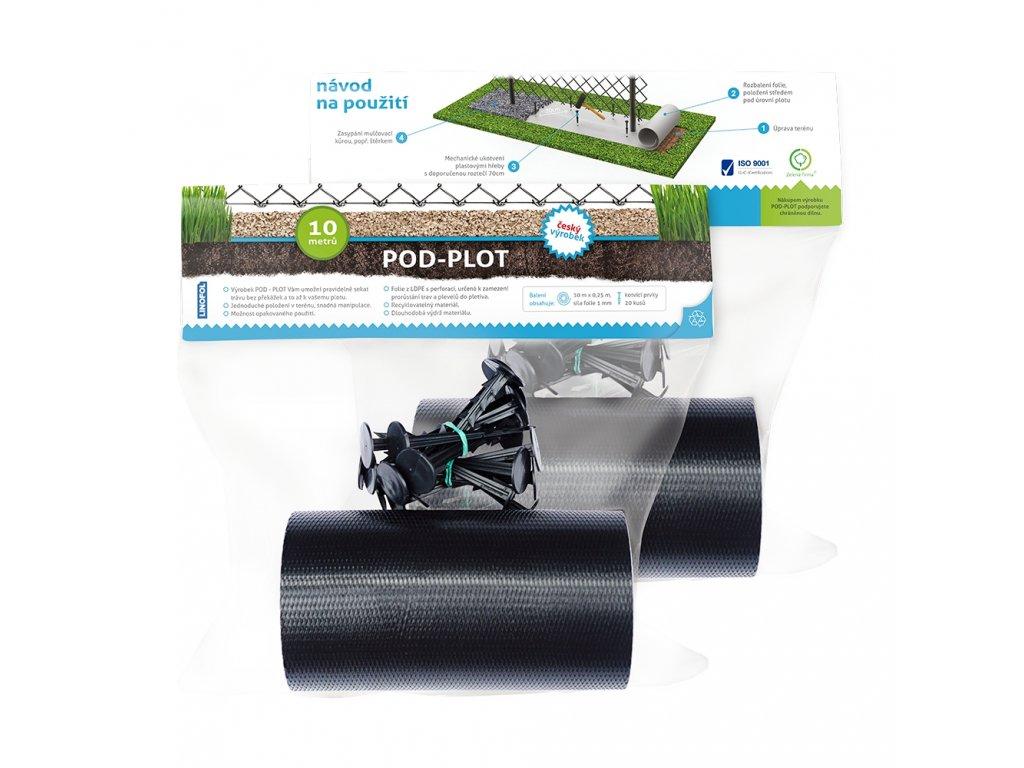 Fólia pod plot, šírka 25 cm, dĺžka 10 m + 20ks plastových klincov