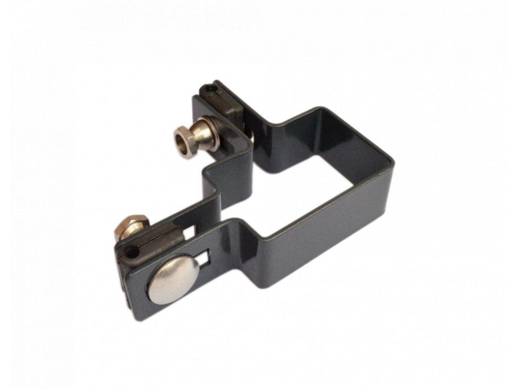 Príchytka Zn+PVC na prichytenie panelov na stĺpik 60x40 mm - rohová, antracit