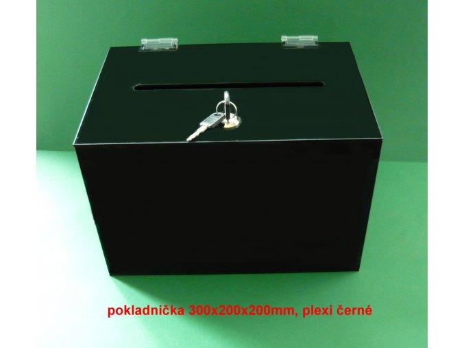Kasička, pokladnička 300x200x200 mm černá