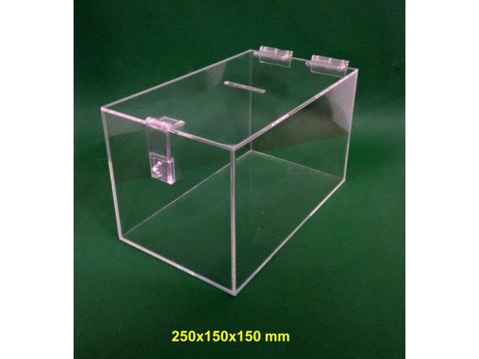 Kasička, pokladnička 250x150x150 mm s petlicí, plexi čiré 1