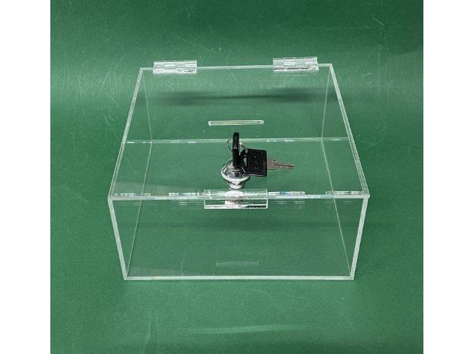Kasička, pokladnička  200x200x100 mm + zámek, plexi čiré