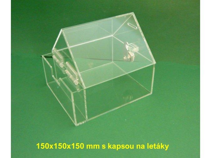 Kasička, pokladnička domeček 150x150x150 mm s kapsou