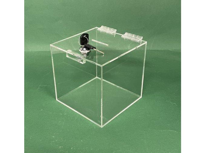 Kasička, pokladnička 150x150x150 mm se zámkem, plexi čiré