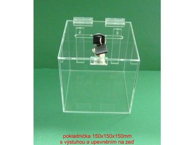 Kasička, pokladnička 150x150x150 mm na zeď, zámek