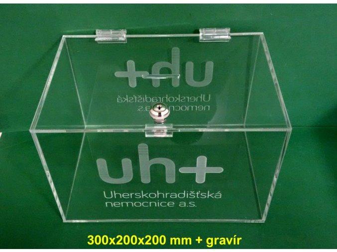 Kasička, pokladnička 300x200x200 mm s gravírováním 1