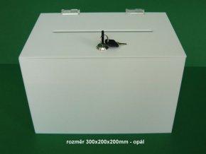 Kasička, pokladnička 300x200x200 mm bílé plexi opál