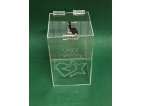 Kasička, pokladnička 150x150x250 mm+ gravír na klíč