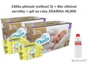 Box dada extra care 240 ks plienok veľ. 3 + 6 ks vlhčené servítky + gél na ruky ZDARMA 45,90 €
