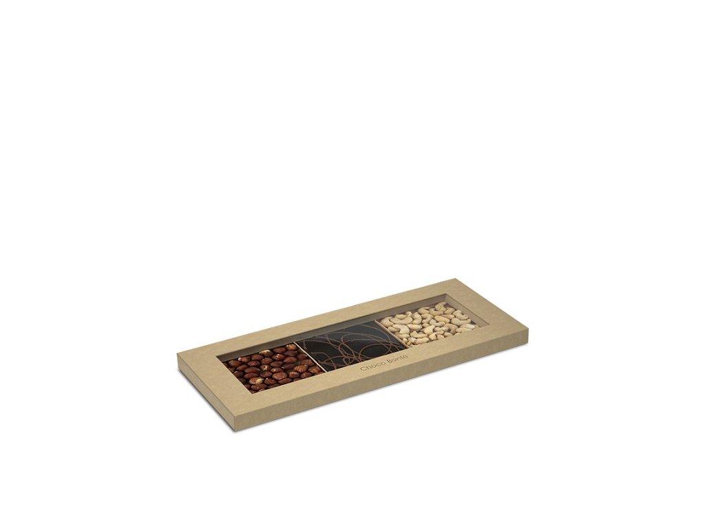 Choco Bonté Hořká čokoláda a mléčná čokoláda, kešu ořechy, lískové ořechy