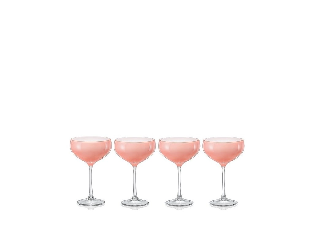 Crystalex Pralines Pink sklenice na koktejly 180 ml, 4 ks